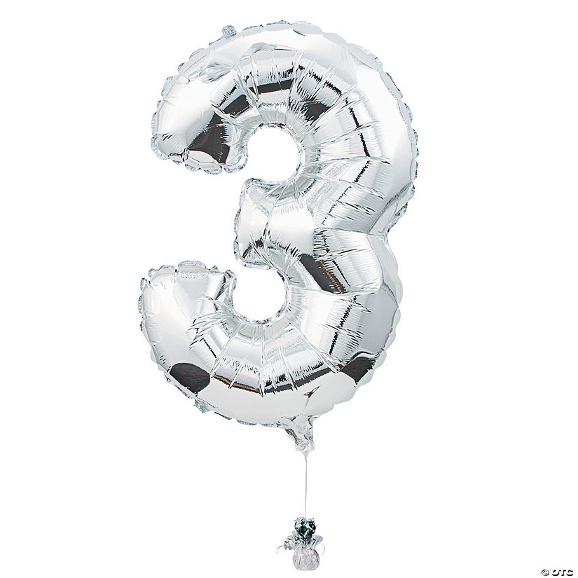 3 Shaped Number Mylar Balloon