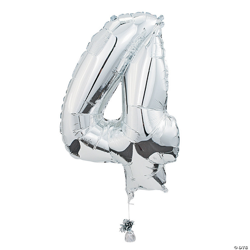 4 Shaped Number Mylar Balloon