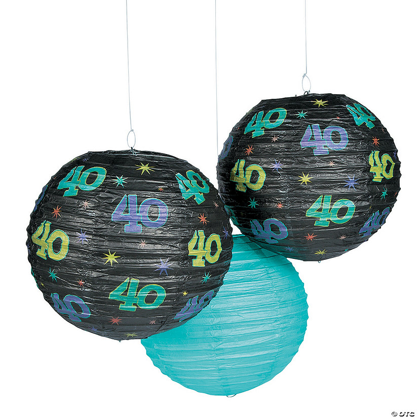 40th Birthday Party Hanging Paper Lanterns