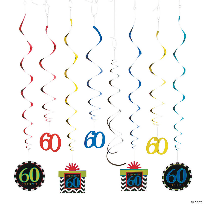60th Birthday Celebration Hanging Swirl Mega Pack