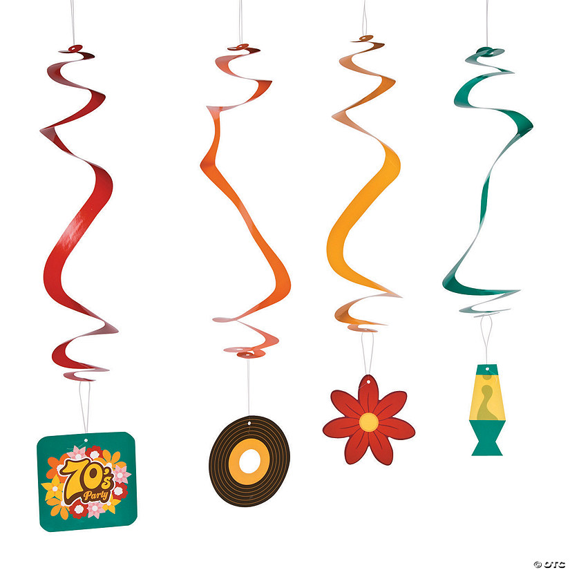 70s Party Hanging Swirl Decorations