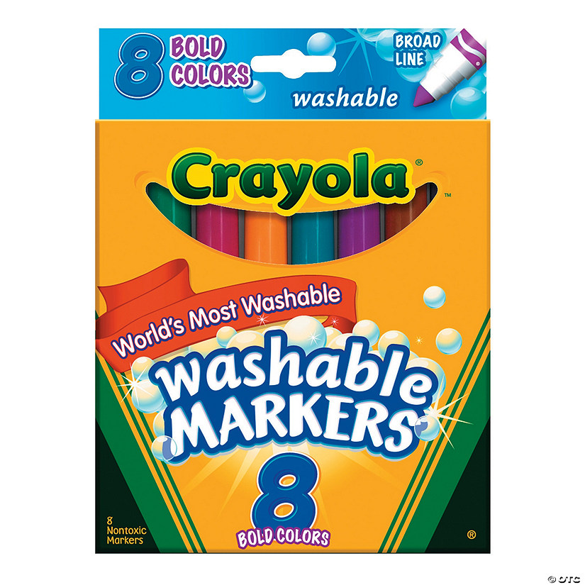 8-Color Crayola® Washable Conical-Tip Bold Color Markers