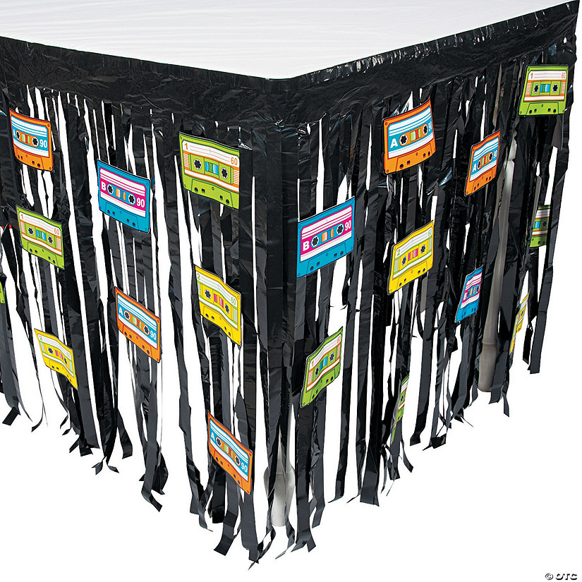 80's Party Table Skirt with Cutouts