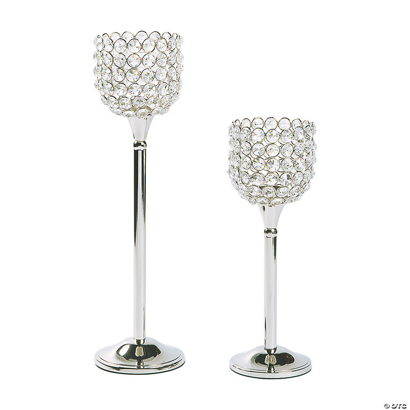 Acrylic Crystal Bead Pedestal Candle Holders