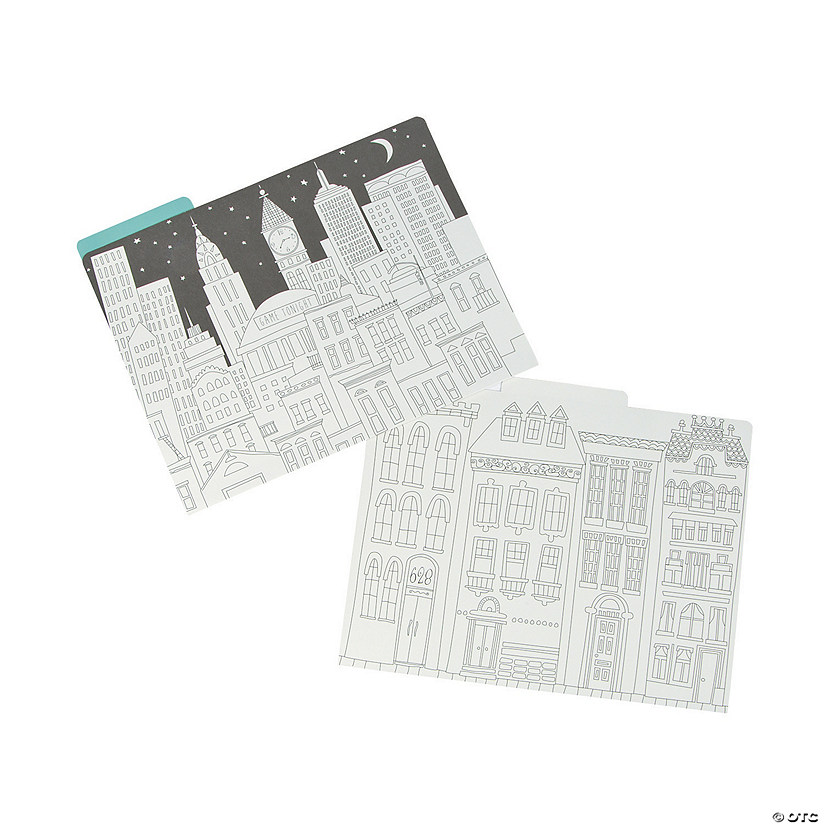 Adult Coloring Cityscape File Folders