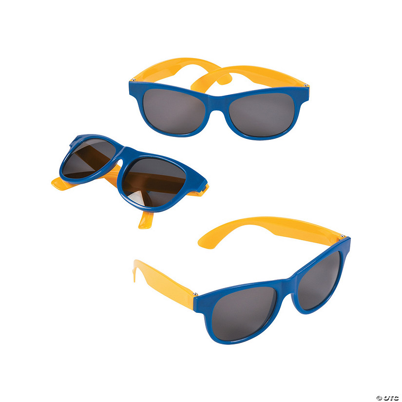 Adult's Blue & Gold Two-Tone Sunglasses - 12 Pc.