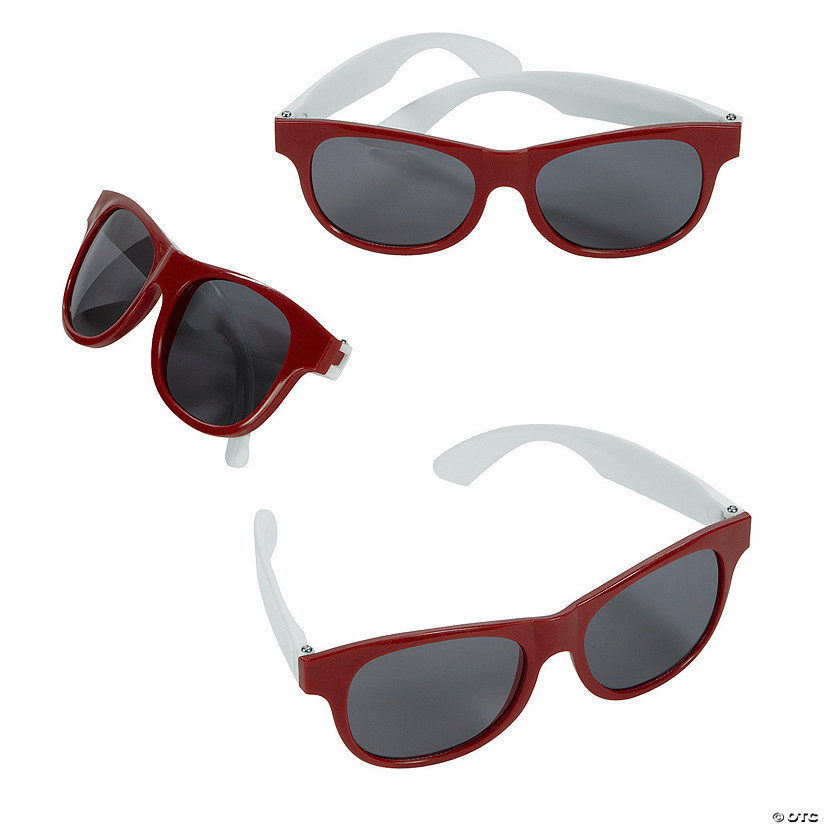 Adult's Burgundy & White Two-Tone Sunglasses - 12 Pc.