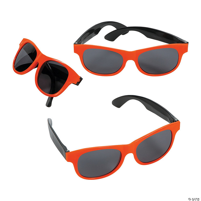 Adult's Orange & Black Two-Tone Sunglasses - 12 Pc.