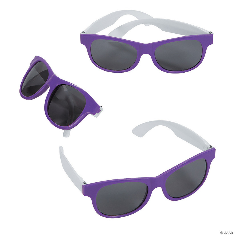 Adult's Purple & White Two-Tone Sunglasses
