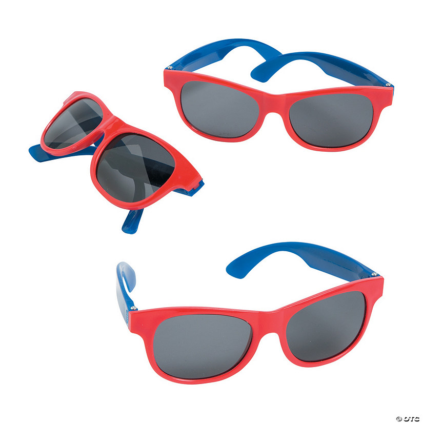Adult's Red & Blue Two-Tone Sunglasses - 12 Pc.