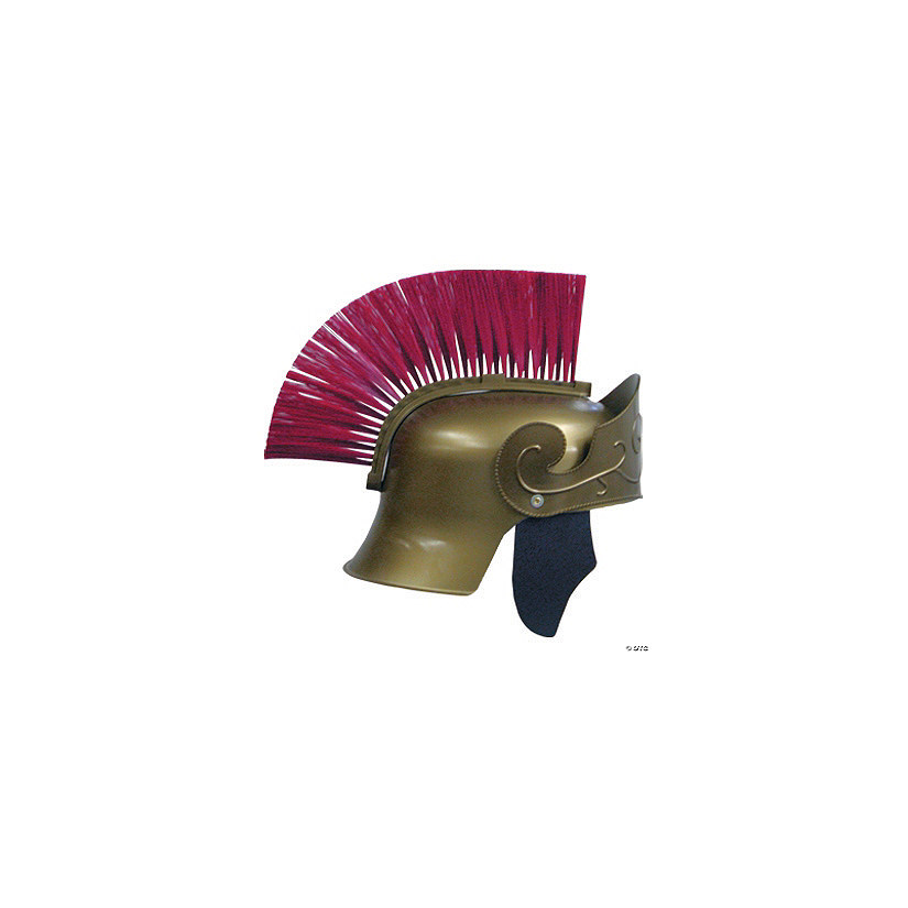 Adult's Gold Roman Helmet with Red Brush