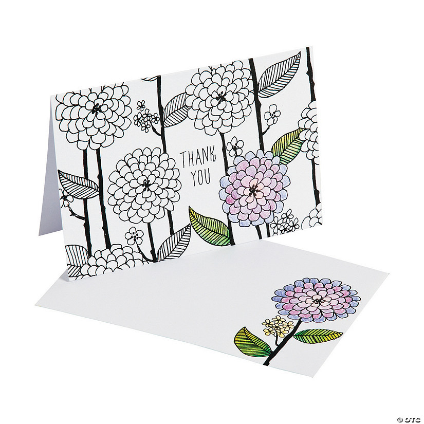 American Crafts™ Adult Coloring Flowers and Stems Thank You Cards ...