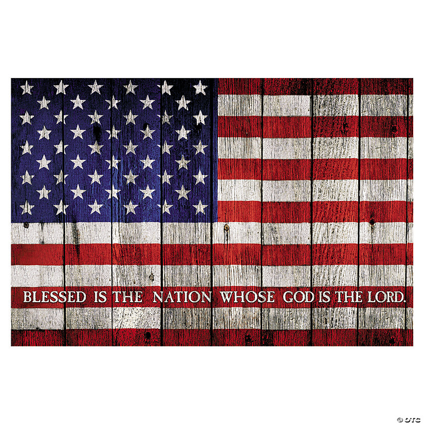 American Flag with Verse Backdrop