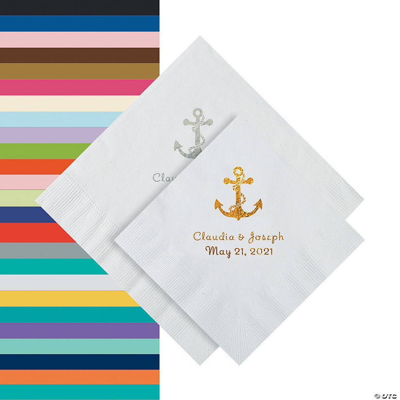 Anchor Personalized Napkins - Beverage or Luncheon