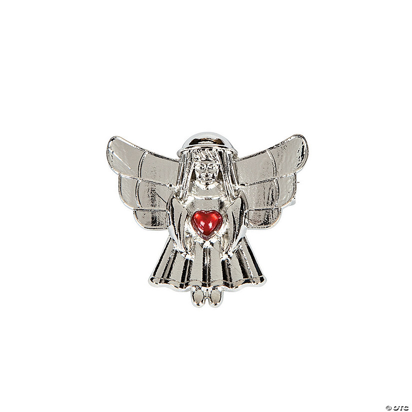 Angel with Gemstone Heart Pins