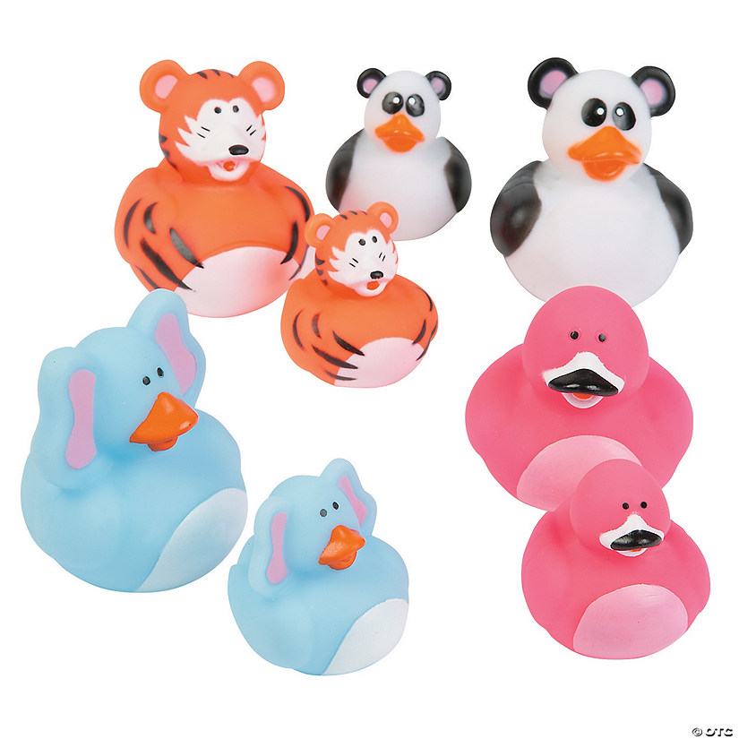 Animal Mom & Baby Rubber Duckies