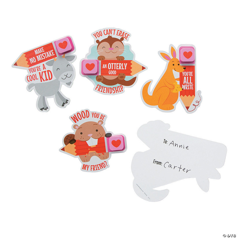 Animal Valentine Cards with Erasers