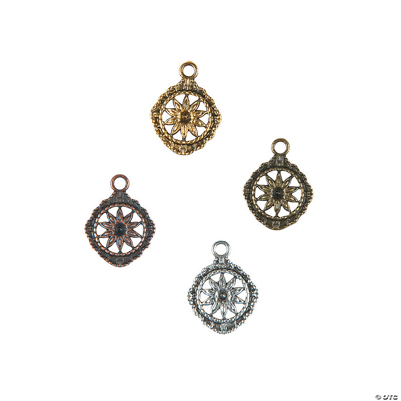 Antique Flower Medallion Charms