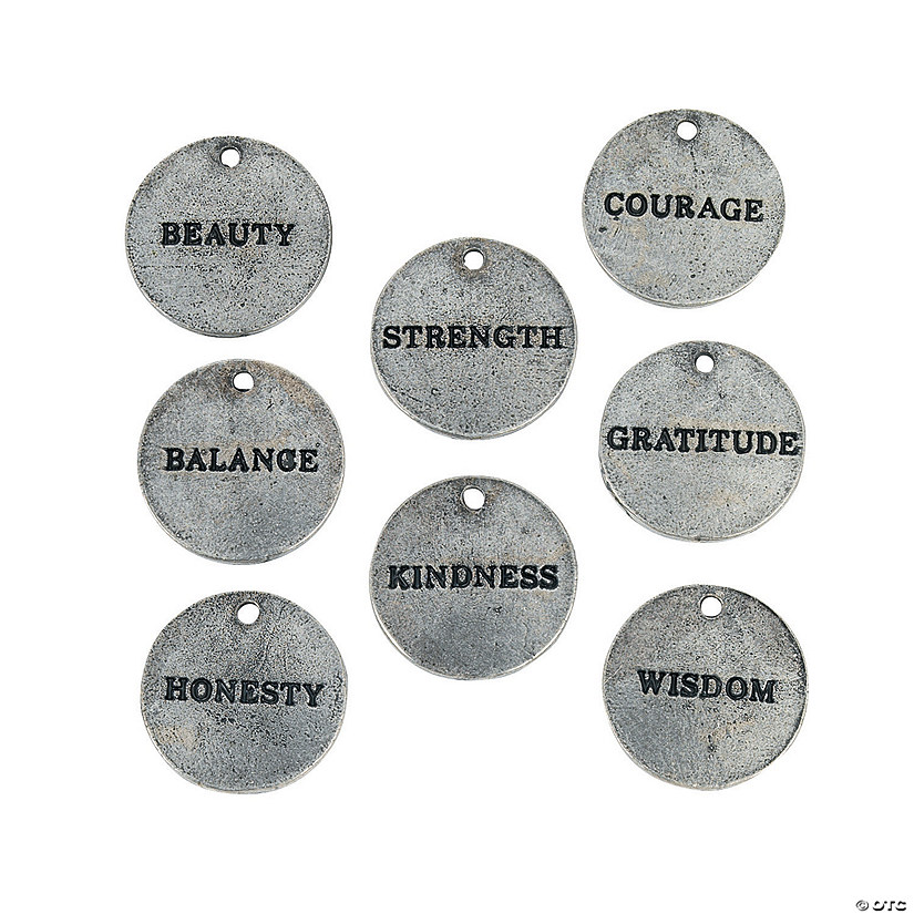 Antique Silvertone Inspirational Tag Charms