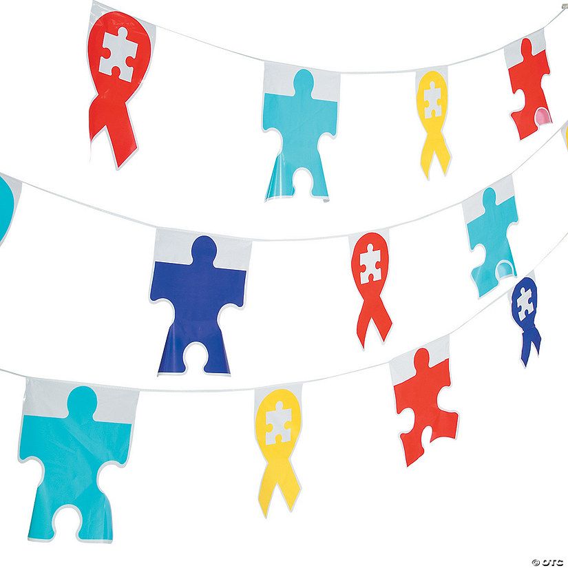 Autism Awareness Plastic Pennant Banner