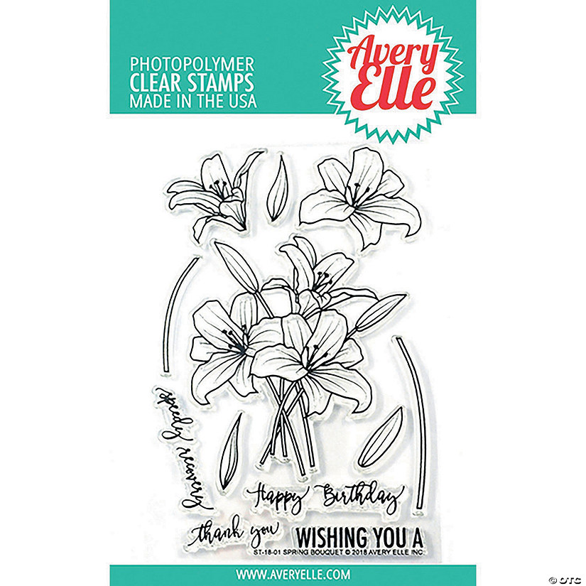 "Avery Elle Clear Stamp Set 4""X6""-Spring Bouquet"