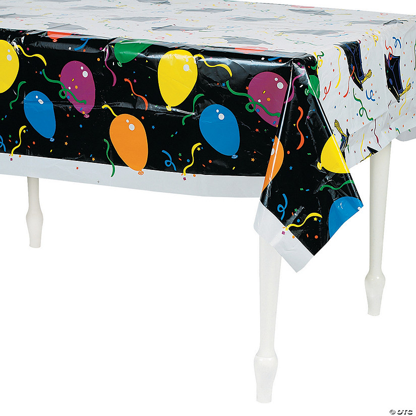 Balloon Print Graduation Plastic Tablecloth