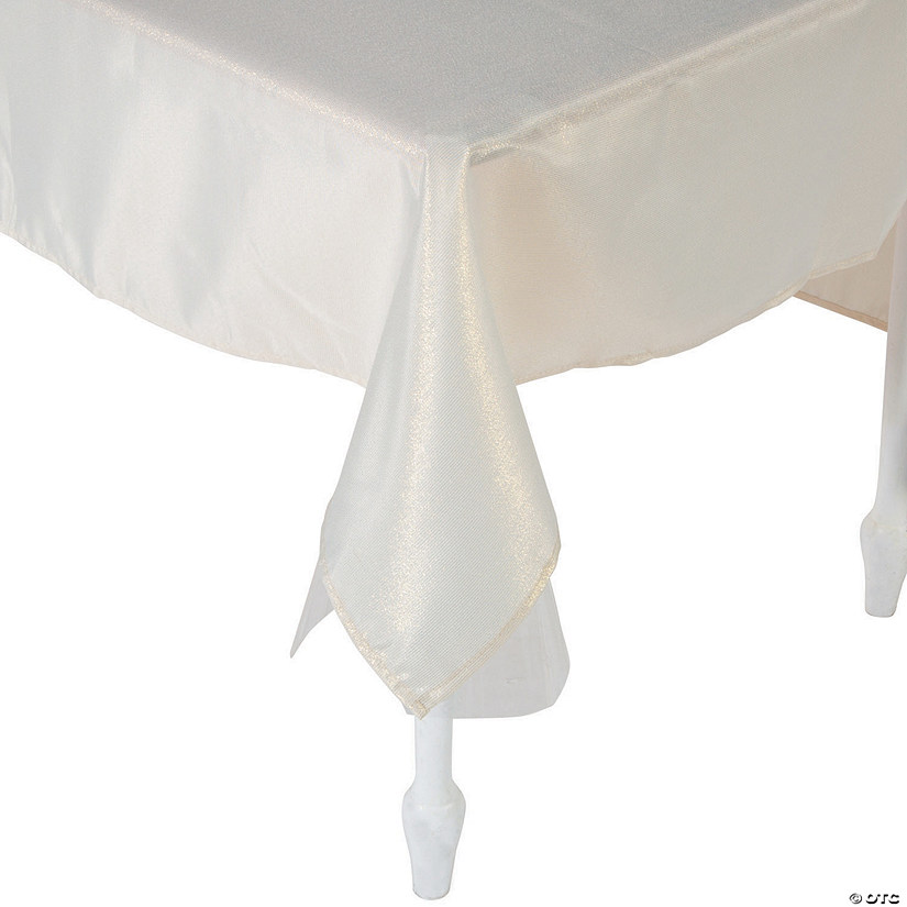 "Beige Metallic Polyester Tablecloth - 60"" x 104"""