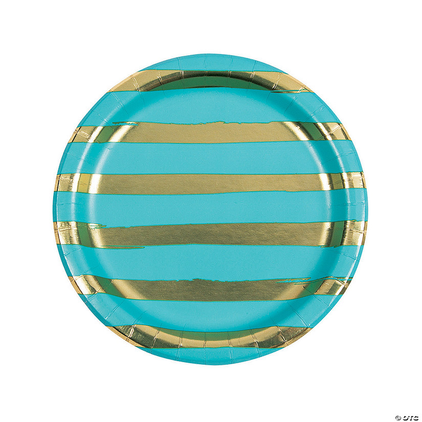 Bermuda Blue & Gold Foil Striped Paper Dinner Plates
