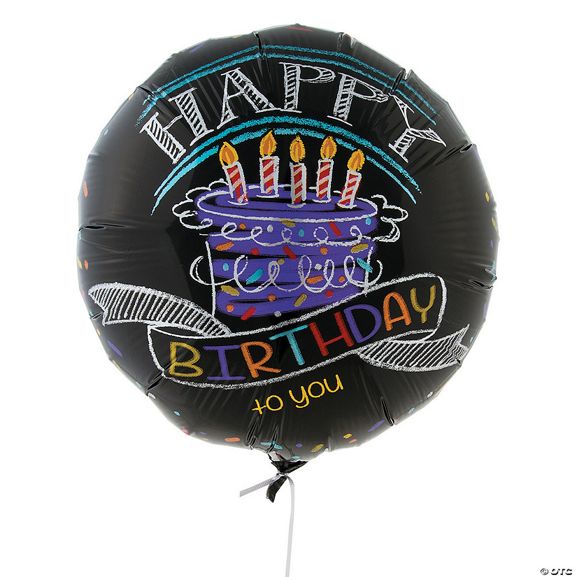 Birthday Chalk Metallic Mylar Balloon
