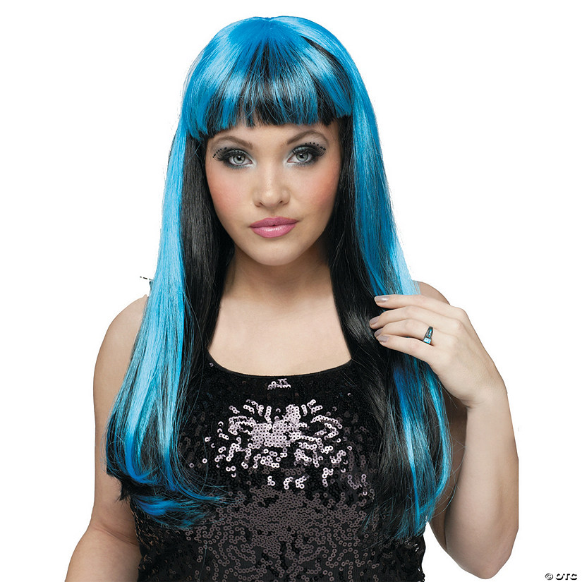 Black & Blue Natural N Neon Wig