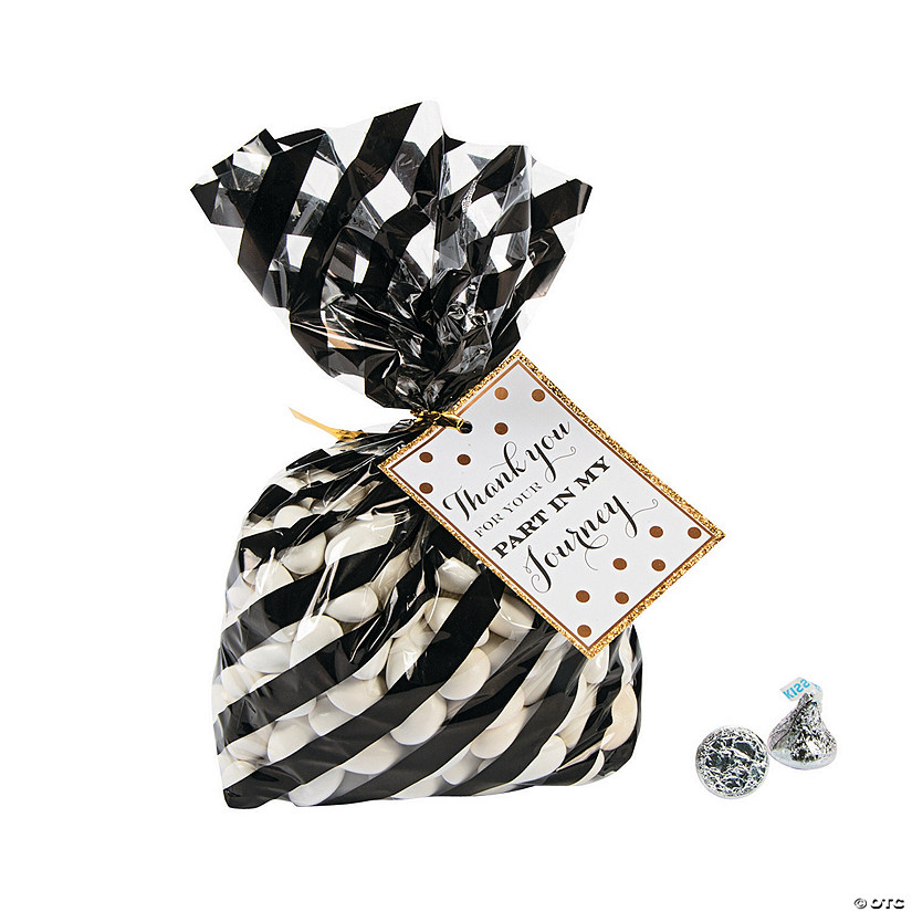 Black & Gold Graduation Cellophane Bags with Tag