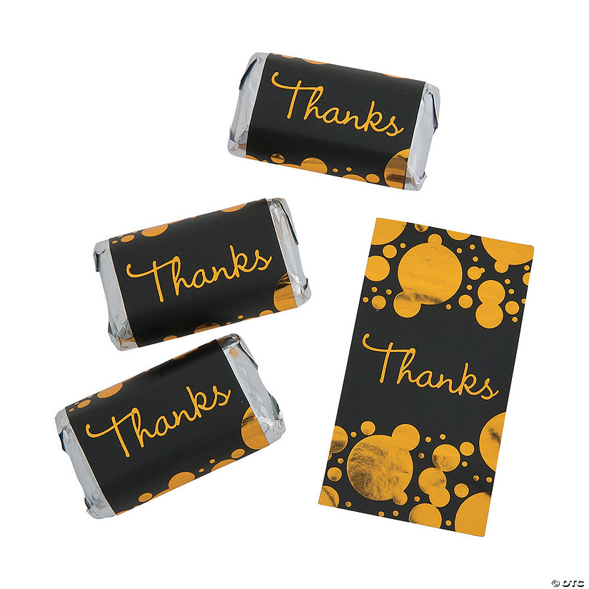 Black & Gold Thanks Mini Candy Bar Sticker Labels