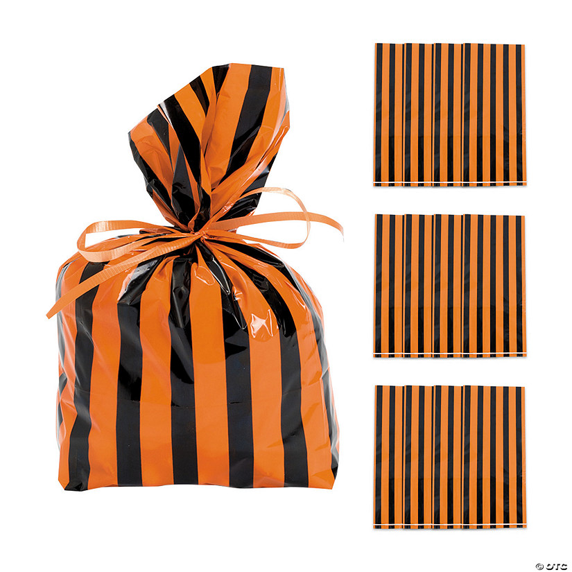 Black & Orange Striped Cellophane Bags