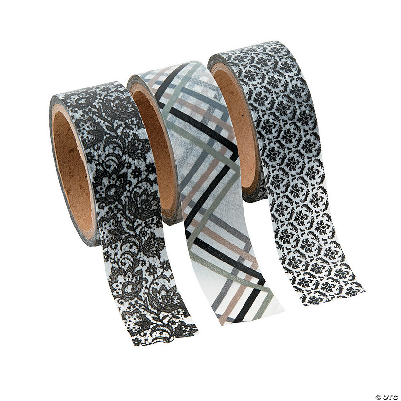 Black & White Flourish Washi Tape Set