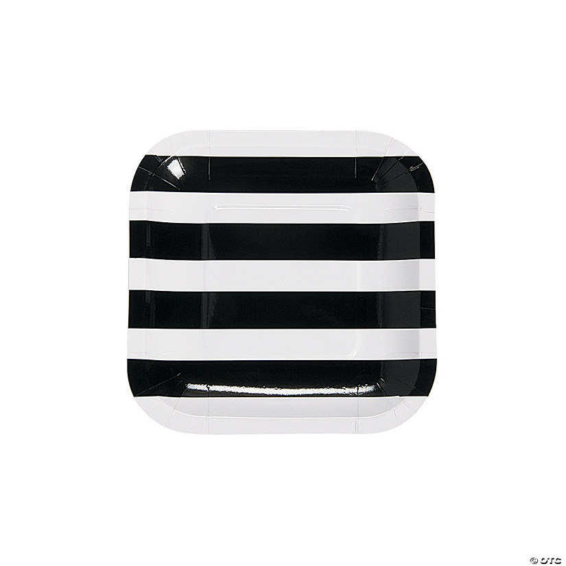 Black & White Paper Striped Dessert Plates
