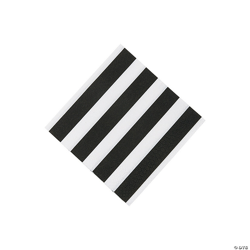 Black & White Striped Beverage Napkins
