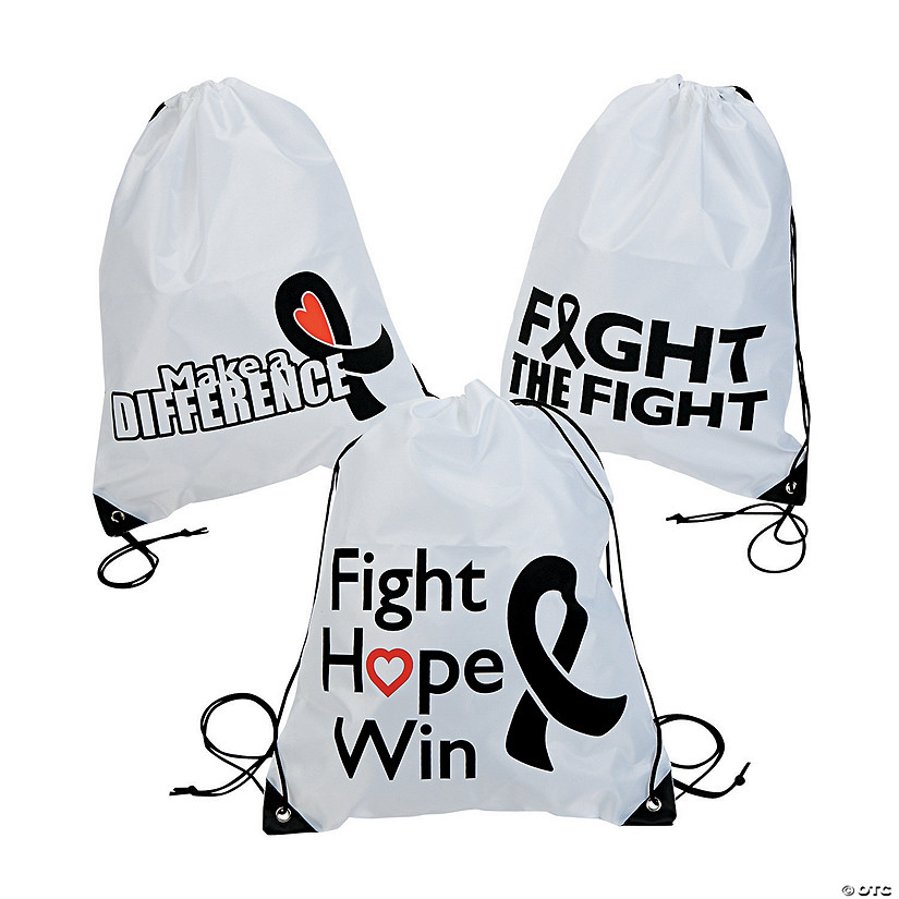 Black Awareness Ribbon Drawstring Backpacks