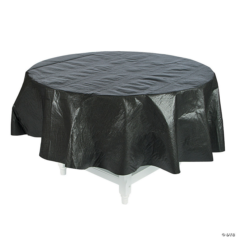 Black Round Vinyl Tablecloth with Flannel Back