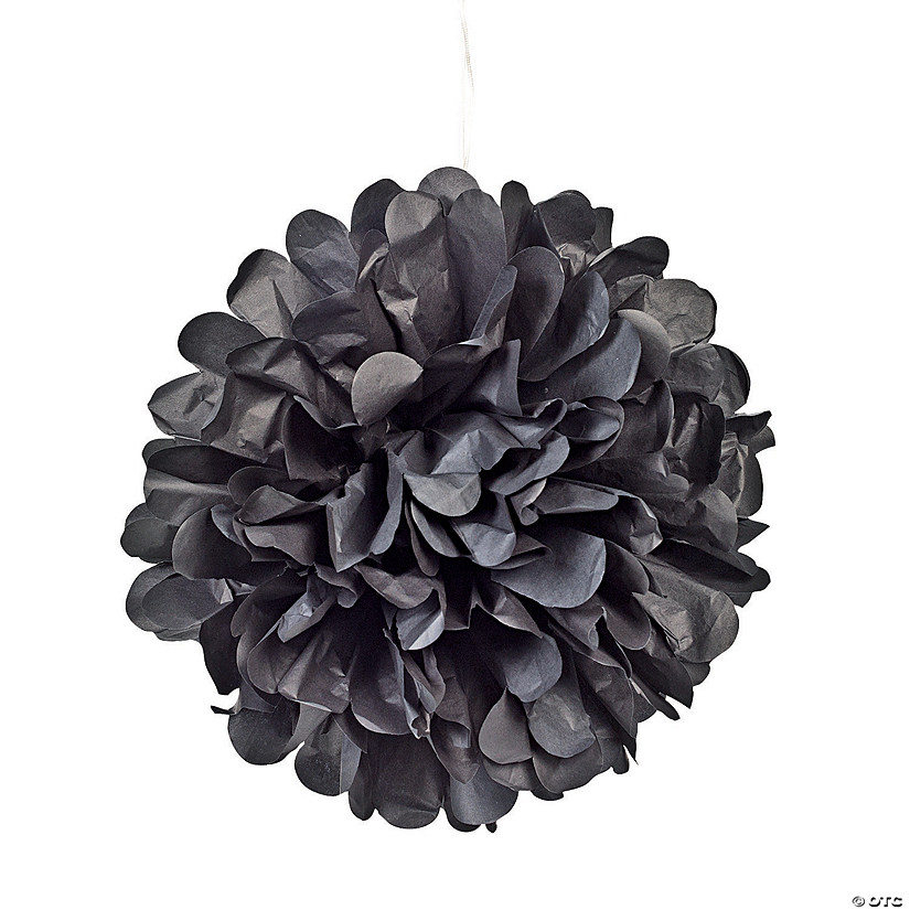 Black Tissue Paper Pom-Pom Decorations