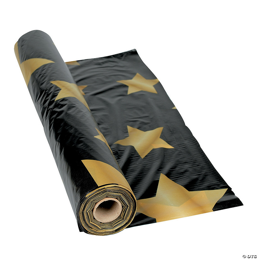 Black with Gold Stars Plastic Tablecloth Roll