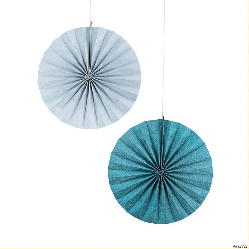 Blue & Silver Glitter Hanging Paper Fans