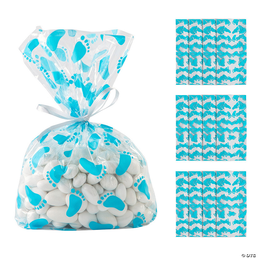 Blue Baby Footprint Cellophane Bags