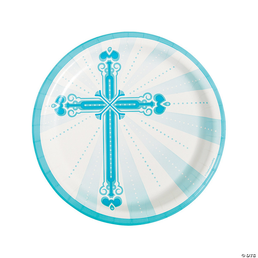 Blue Blessings Paper Dinner Plates
