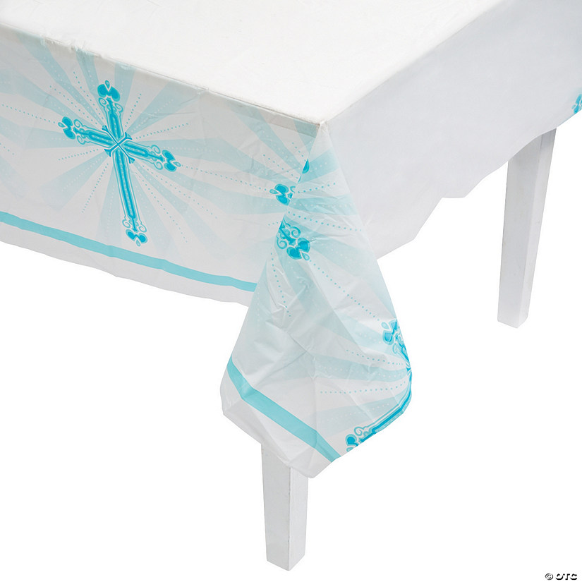 Blue Blessings Plastic Tablecloth