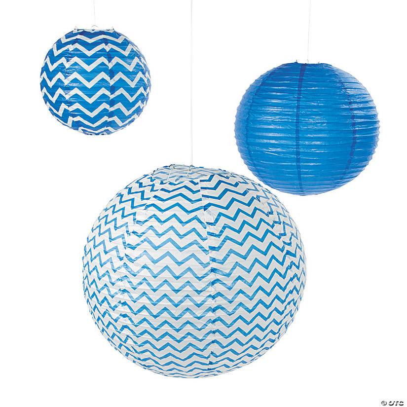 Blue Chevron Hanging Paper Lanterns
