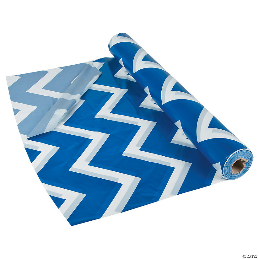 Blue Chevron Plastic Tablecloth Roll