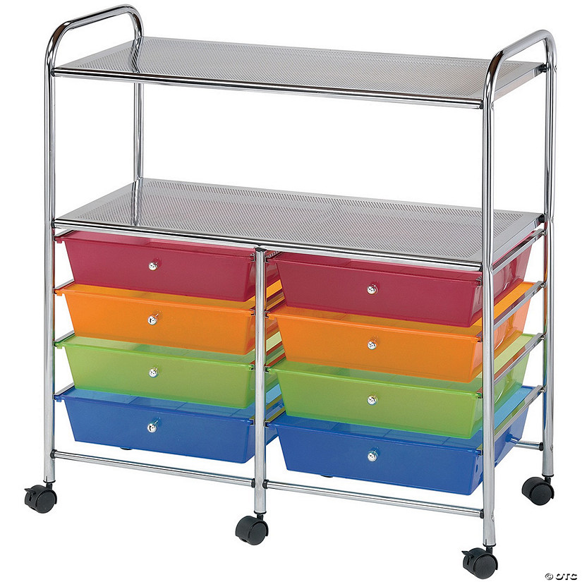 "Blue Hills Studio Double Storage Cart W/8 Drawers, Smoke- 13""x32""x15.5"""