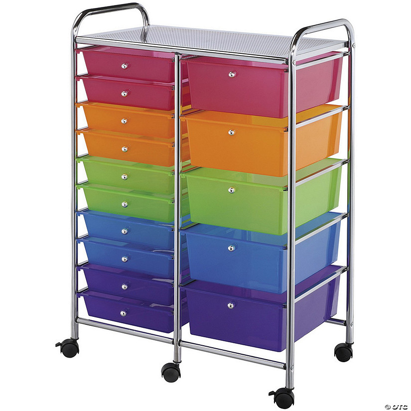 "Bluee Hills Studio Double Storage Cart W/15 Drawers, Multicolor-25.5""x38""x15.5"""