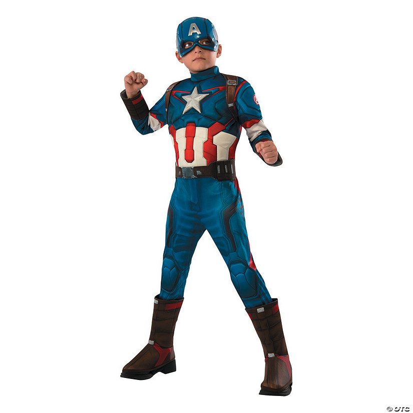 Boy's Deluxe Muscle Avengers 2: Age of Ultron™ Captain America Costume