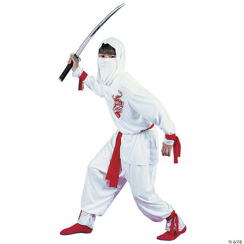 Boy's Deluxe White Ninja Dragon Costume